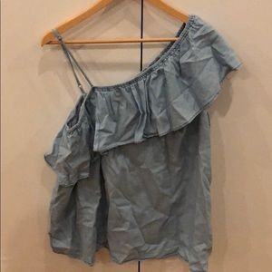 One shoulder chambray blouse